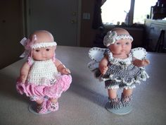 "Berenguer 5"" Baby Dolls - Ballet and angel Dresses #14  More can be seen on Pinterest under Jana Langley Berenguer 5"" Dolls with crocheted outfits"