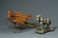CARVED AND PAINTED WOODEN HORSE PULL-TOY AND A SMALL WOODEN CART, 19TH CENTURY, THE HORSE WITH HORSEHAIR MANE AND TAIL, LEATHER HARNESS - AMERICAN FURNITURE & DECORATIVE ARTS - SALE 2444 - LOT 379 - Skinner Inc