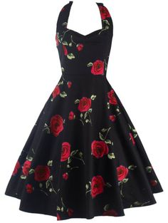 SHARE & Get it FREE | Halter Rose Print Vintage DressFor Fashion Lovers only:80,000+ Items • New Arrivals Daily Join Zaful: Get YOUR $50 NOW!