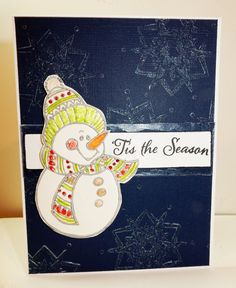 #cre8time for painted snowman with stamps. Steph Ackerman created two with #stampendous and #artanthology