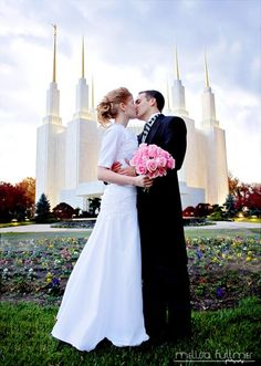 Another great wedding day kiss photo at an LDS temple - looks like they're enjoying it but not ENJOYING it! :-D (Photo by Melissa Fullmer Photography , WeddingLDS.com)