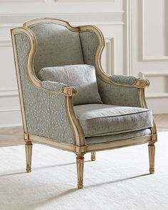 Shop Rayna Wingback Chair from John-Richard Collection at Horchow, where you'll find new lower shipping on hundreds of home furnishings and gifts. Winged Armchair, Victorian Chair, World Market Dining Chairs, Bergere Chair, Wrought Iron Patio Chairs, Vintage Chairs, Chair And Ottoman, Chair Cushions, Living Room Chairs