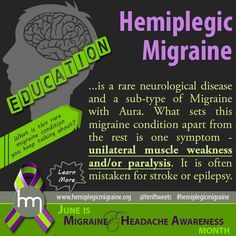 What is Hemiplegic Migraine? Migraine with Aura with unilateral weakness and/or paralysis. The Hemiplegic Migraine Foundation Types Of Migraines, Chronic Migraines, Chronic Pain, Fibromyalgia, Chronic Illness, Chronic Fatigue, Complex Migraine, Migraine Aura, Migraine Relief