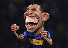 Caricatura del futbolista Carlos Tévez, realizada por el artista Maxi Rodríguez.     Caricatura de ...