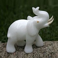 Calcite statuette, 'Royal White Elephant'