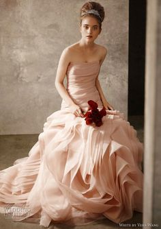 white by vera wang wedding dress - blush pink Organza Fit and Flare Gown with Bias Flange Skirt Style VW351011