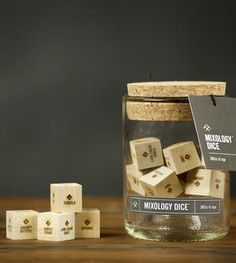 Mixology Wood Dice Set by Two Tumbleweeds on Scoutmob Wood Dice, Cool Gadgets To Buy, Drinking Games, Fun Drinks, Beverages, Bartender, Tequila, Tumbler, Place Card Holders