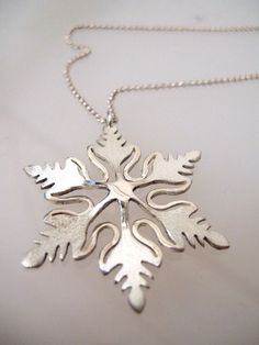 Sterling Silver Snowflake necklace, Snowflake pendant, snowflake necklaces gift, christmas jewelry gift by NetaGilboa