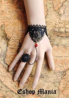 Gothic Victorian Lolita BLACK lace bracelet Black mirror w chain red bead n flower ring Vampire style Costume Party Goth crispy. $10.99, via Etsy.