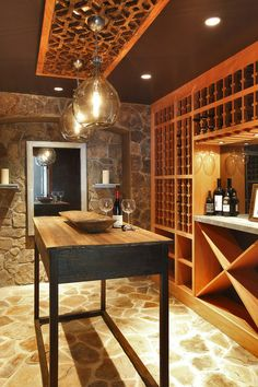 contemporary wine cellar by Blansfield Builders, Inc.