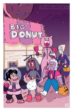 Steven as Cookie Cat Connie as Dog Copter Amethyst as Tiger Millionaire Pearl as the sword fighter from Steven's movie Garnet as the Pig from Meat Beat Mania