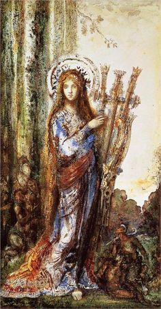 my PERSEPHONE, ♛ goddess of spring growth. Hades's wife, and is the daughter of Zeus and Demeter :::Original, artist : Satyrs - Gustave Moreau Gustav Klimt, Catalogue Raisonne, Dante Gabriel Rossetti, Art Ancien, Sacred Feminine, Pre Raphaelite, Art Database, French Art, Graphic