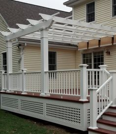 This Trex Pergola fitted with a retractable ShadeTree canopy will provide near 100% shade coverage to this refined Trex Deck. This attached pergola was installed so that the deck railing could attach to the pergola columns providing an integrated look and a less cluttered deck surface. Support columns are 8″ x 8′ High square structural fiberglass. Pergola: