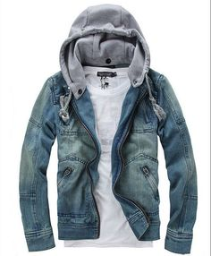 Hot Men s CLASSIC VINTAGE Denim Hooded Jean Jacket Hoody Coat Detachable  Cap in Clothing 07851d4dab0