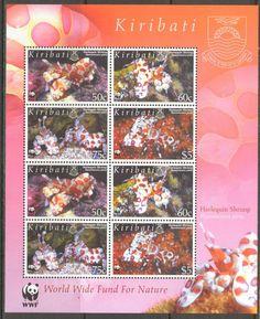 Kiribati WWF Marine Life Harlequin Shrimp Sheet of 8 MNH**