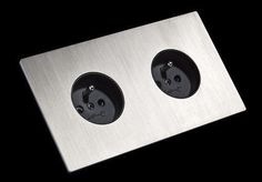 Double plug socket - 51 BRUSHED STAINLESS STEEL - FONT BARCELONA