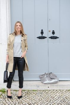 2014 Bag by Chanel/Coat by Burberry/Top by Roseanna/Knit by Isabel Marant Etoile /Pumps by Isabel Marant/Jeans by Saint Laurent