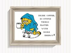 Morning Cat Cat and Coffee Cross Stitch Pattern Funny Animal