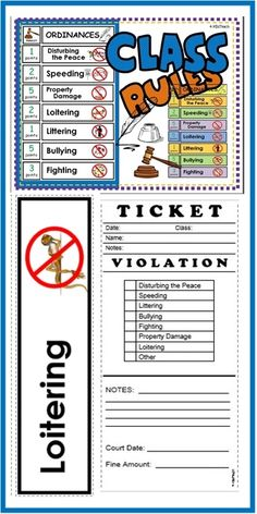 "CLASS ORDINANCES with a humorous twist. Hand out a ""ticket"" and bring some humor to the classroom. Incorporate ""real life"" learning (and classroom behavior management) at the same time!  Speeding in the classroom? Loitering by someone else's desk? Littering? Hand out a ticket and take the case to court. Great for social studies units!"