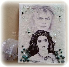 Mini Canvas and Easel Embellished print,  Sarah Goblin King The Labyrinth, Mini Canvas, Handmade Fantasy Glitter Gift, The Labyrinth gifts by HelenFaerieArt on Etsy