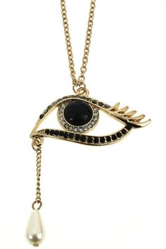 #romwe Eye-shaped Bead Pendant Necklace