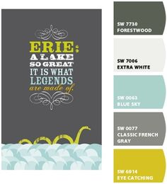 Chip-It from Sherwin Williams. Picks paint colors from any picture. Slate, white, aqua, orange, yellow