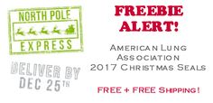 Christmas Seals 2017 from the American Lung Association! Get your FREE Christmas Seals to seal your lovely Christmas Cards! FREE + FREE SHIPPING!