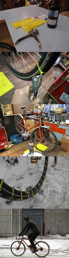 zip ties to DIY snow tires for your bike. Use zip ties to DIY snow tires for your bike. Atelier Theme, Camping Gadgets, How To Make Snow, Ideas Geniales, New Things To Learn, Bike Life, Survival Skills, Just In Case, Life Hacks