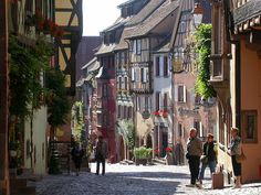 One of the most beautiful villages of France. Main street of Riquewir, Alsace. By Jean Paul Krebs.