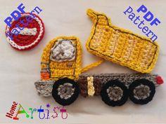 Dump Truck Crochet Applique Pattern