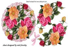 Pretty broderie Anglaise doilie with summer roses on Craftsuprint - Add To Basket!