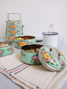 🌟Tante S!fr@ loves this📌🌟Poppytalk: Handpainted Tiffin Carriers from The New Domestic Tiffin Carrier, Tiffin Box, Vintage Tins, Tea Ceremony, Kitchen Decor, Kitchen Stuff, Decoration, Sweet Home, Shabby Chic