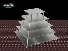 MAGOREX stojaki do tortów, szpilkowe ANGOL, ze stali nierdzewnej - talerze kwadratowe.
