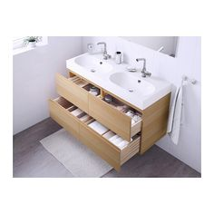 GODMORGON / BRÅVIKEN Kast voor wastafel met 4 lades - wit gelazuurd eikeneffect - IKEA