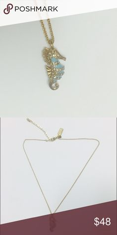 Kate Spade Paradise Found Seahorse Mini Pendant Gold plated with glass and stones! This darling pendent is perfect for vacation or any day. kate spade Jewelry Necklaces