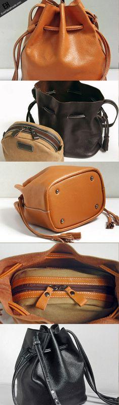 Handmade Leather bucket bag shoulder bag for women leather