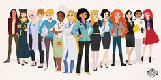 An illustrator reimagined Disney princesses as modern women with jobs based on their characters to inspire girls who may want to pursue a career in a traditionally male-dominated field. What would your favorite Disney princess be doing today? Business Woman Successful, Business Women, Rapunzel, Disney Pixar, Disney Tips, Disney Stuff, Disney Magic, Disney Actual, Princesse Disney Swag
