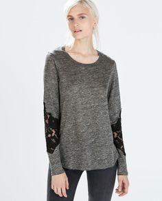 Image 1 de T-SHIRT LIN DENTELLE MANCHES de Zara
