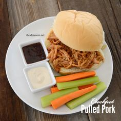 Make this delicious Crockpot Pulled Pork Recipe. It is so tender and juicy with a great flavor. It will be a new family favorite weeknight meal.
