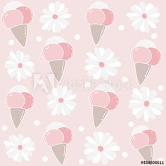 Cute lovely summer seamless vector pattern background illustration with cone ice creams and daisy flowers by Alice Vacca Daisy Flowers, Pattern Background, Cute Pattern, Vector Pattern, Graphic Design Illustration, Alice, Ice Cream, Summer, Image
