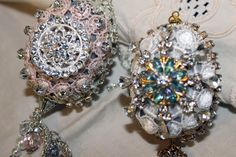 Lace Jeweled Christmas Egg Ornaments - Simple DIY