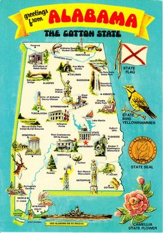 Alabama state information alabama symbols facts funsheet pack alabama state greetings from map postcard fandeluxe Image collections