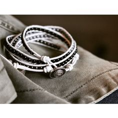 White and Black Beaded Leather Wrap Bracelet Handmade - wholesale and custom orders welcome!!  Has three button holes for sizing. Handmade Jewelry Bracelets
