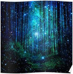 """In the magical Forest"" Tapestry by haroulita Mystical Forest, Fantasy Forest, Magic Forest, Forest Art, Dark Forest, Forest Drawing, Forest Painting, Night Forest, Jolie Photo"