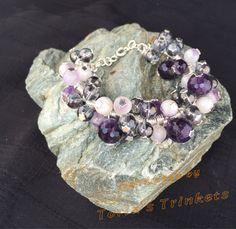 Amethyst cluster bubble bracelet: amethyst bracelet; cluster bracelet; luxury bracelet; charm bracelet; February birthstone; gentleness - pinned by pin4etsy.com
