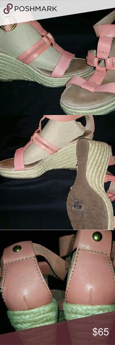 """Fossil Leather Wedge Sandals Georgous Peach Color Glove Leather 3"""" Wedge Sandles /c hemp wrap around and all leather soft foot bed and solid brass ring closures.  These shoes have never been worn except to try on. There are no signs of wear and in original condition. NWOT Fossil Shoes Sandals"""