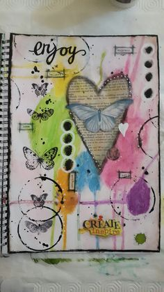 Art Journal mixed media page. 'CREATE I am pleased with the way this one is going  imagine, believe, love, express....ART