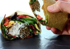 "Falafel & Hummus Wrap with Mediterranean ""Roasted"" Vegetables [RECIPE]"