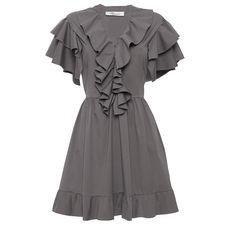 Blumarine     Short Sleeve Ruffled Mini Dress ($735) ❤ liked on Polyvore featuring dresses, dark green, short mini skirts, pleated mini skirt, v neck a line dress, short pleated skirt and short dresses