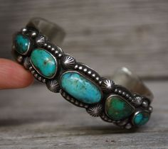 Vintage Native Navajo Sterling Silver Turquoise Cuff Bracelet by Jeanette Dale #JeanetteDale